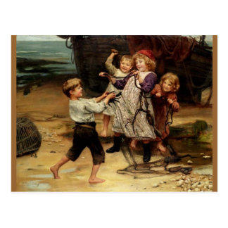 Kids Playing with fishing net beach painting Postcard