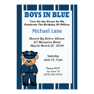 Kids Policeman Birthday Invitation