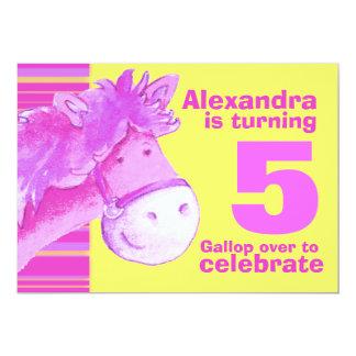 Kids pony 5th birthday pink yellow birthday invite