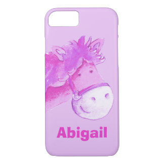 Kids pony purple girls custom name case