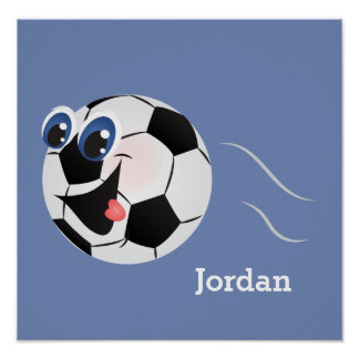 Kid's Poster Cute Funny Soccer Ball