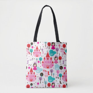 kids princess castle and unicorn tote bag