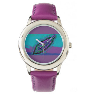 kids purple watch peacock feather design