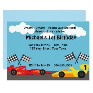 Kids Racing Birthday Party Card