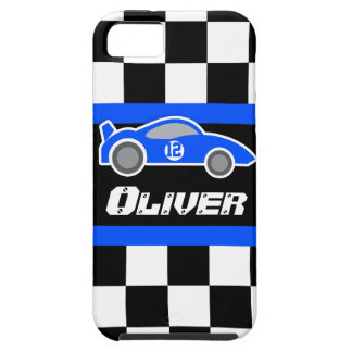 Kids racing blue sports car named iphone 5 case