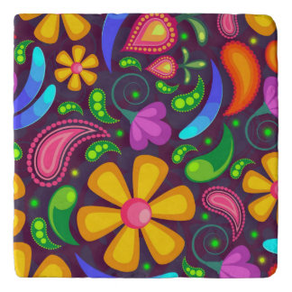 Kids rainbow color abstract trivet