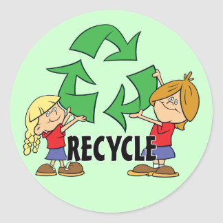 Kids Recycle Classic Round Sticker