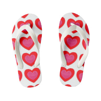 KIDS RED AND PINK HEART FLIP FLOPS