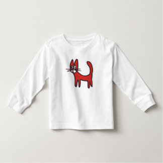 Kids Red Animal Cartoon Cat Shirt