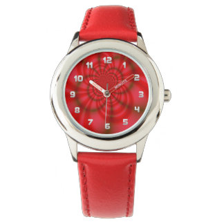 Kid's Red Candy Stripes Fractal Watch