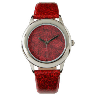 KIDS RED GLITTER STRAP ROSE WATCH. WATCH