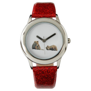 Kid's Red Glitter Strap Watch w/ grizzly bears