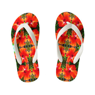 Kids Red Hibiscus Thick Straps Sandals