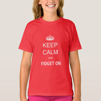 Kids Red Keep Calm Fidget On Personalized Spinner T-Shirt