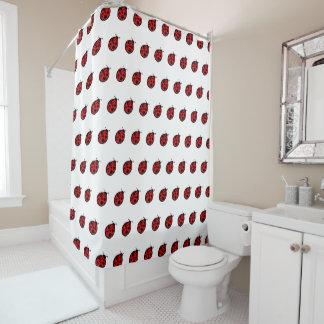 Kids Red Ladybugs Bathroom Shower Curtain