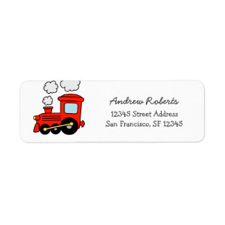 Kids red toy choo choo train return address labels