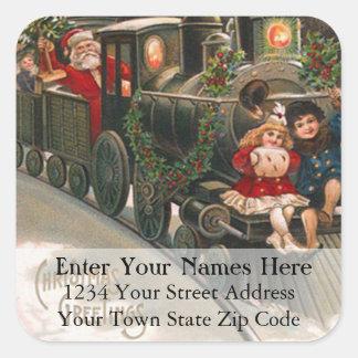 Kids Ride Santa Claus Train Vintage Address Label