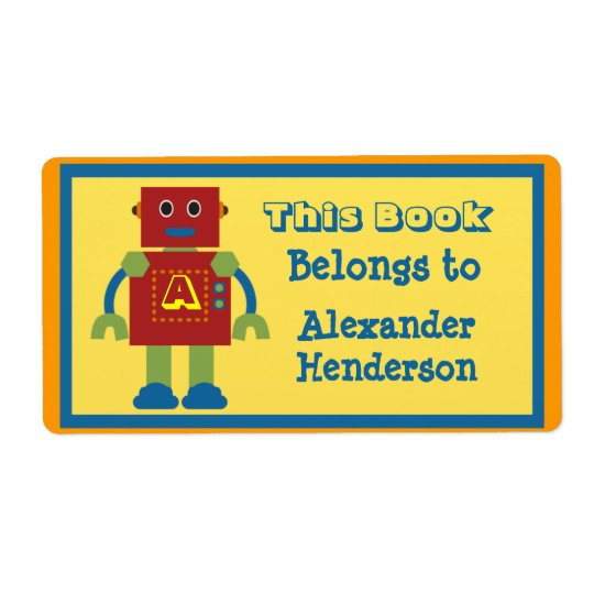 Kids Robot Monogram Book Sticker Shipping Label