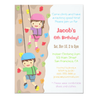 Kids Rock Climbing Birthday Party Invitations
