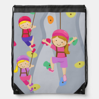 Kids Rock Climbing Wall Drawstring Backpack Bag