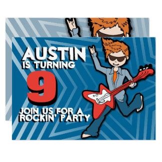 Kids rockstar boy 9th birthday blue invitation