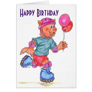 Kids Roller Skating Birthday Card