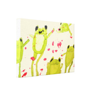 Kids room art cute frogs in watercolour canvas print