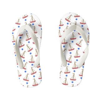 Kids Sailboat Patterned Flip Flops