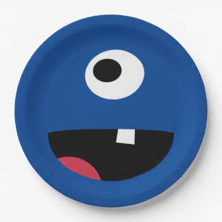 Kids Silly Monster Face Monsters Party Blue Cute Paper Plate