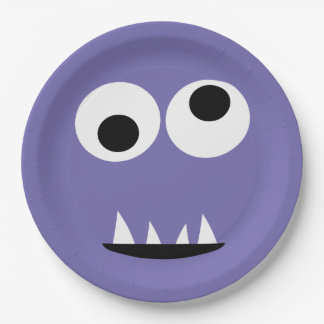 Kids Silly Monster Face Monsters Party Purple Cute Paper Plate