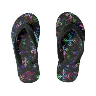 Kids Snowflake Flip Flops