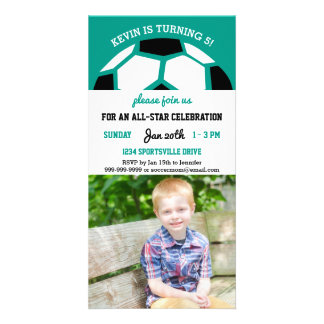 Kids Soccer Birthday Party Sports Themed Photo Personalized Photo Card