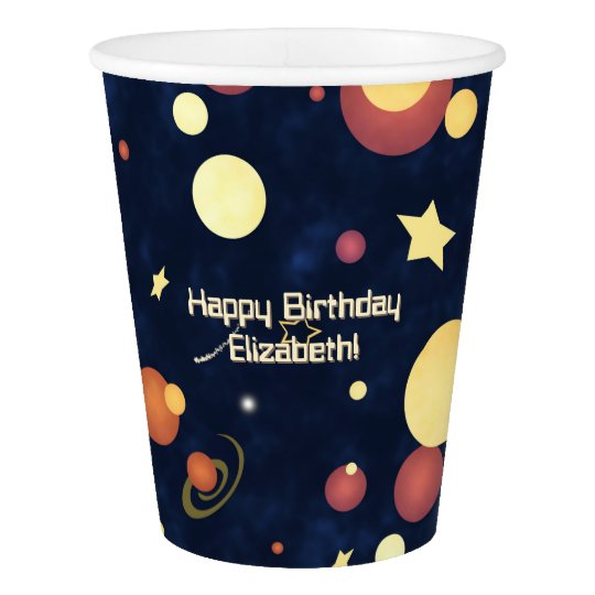 kids' space party abstract planets stars night sky paper cup