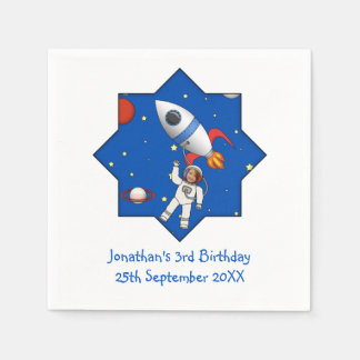 Kids Space Walk Astronaut and Rocketship Photo Paper Napkins