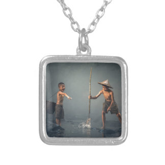 Kids Spear Fishng Silver Plated Necklace