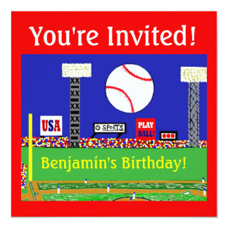 Kids Sports Baseball Birthday Party Invitations