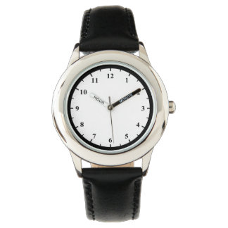 Kid's Stainless Steel Black Leather Strap Watch
