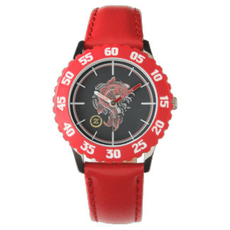 Kid's Stainless Steel Red Numbered Watch