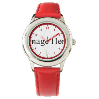 Kid's Stainless Steel Watch Red Leather Strap