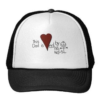 Kids Stick Figure Hearts Dad Trucker Hat