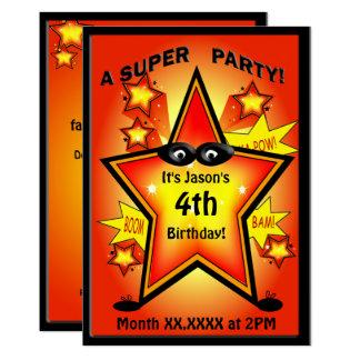 "Kids Superhero Star Birthday Party 5"" X 7"" Invitation Card"