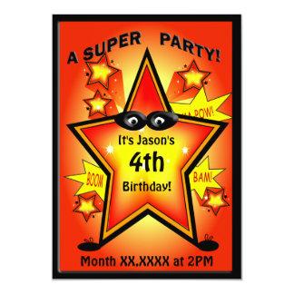 Kids Superhero Star Birthday Party Invite
