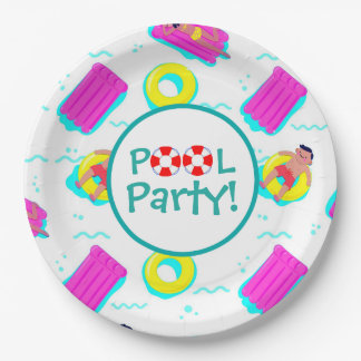 Kids Swimming With Floats Pool Party 9 Inch Paper Plate