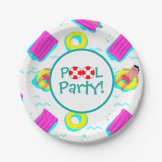 Kids Swimming With Floats Pool Party Paper Plate