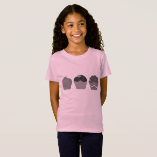 KIDS T-SHIRT PINK with Muffins grey