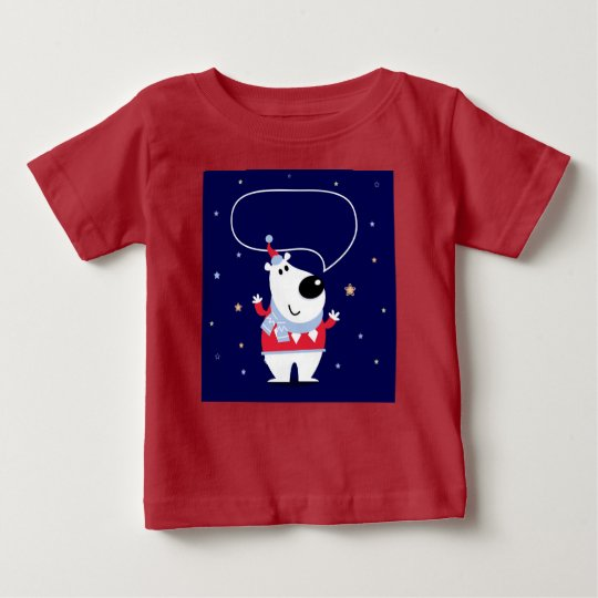 KIDS T-SHIRT WITH POLAR BEAR DARK RED BLUE