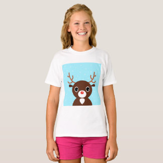 Kids t-shirt with Red nosed rudolph