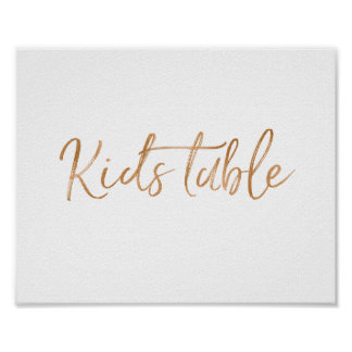 Kids Table 8x10 Stylish Rose Gold Wedding Sign