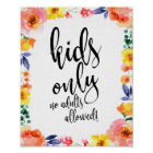 Kids Table Floral Watercolor 8x10 Sign for Wedding