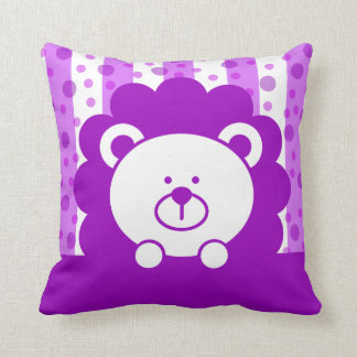 Kids Toy Lion Stripes Polka Dots | purple Throw Pillow